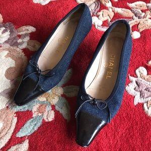 Vintage Denim Chanel Bow Kitten Heel Flats